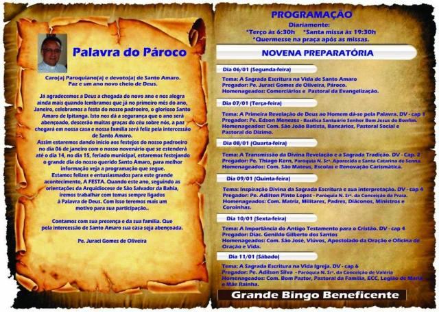 Mensagem do Padre Juraci - Pároco da Igreja Matriz de Santo Amaro de Ipitanga/programação de 06 a 11/01/2014