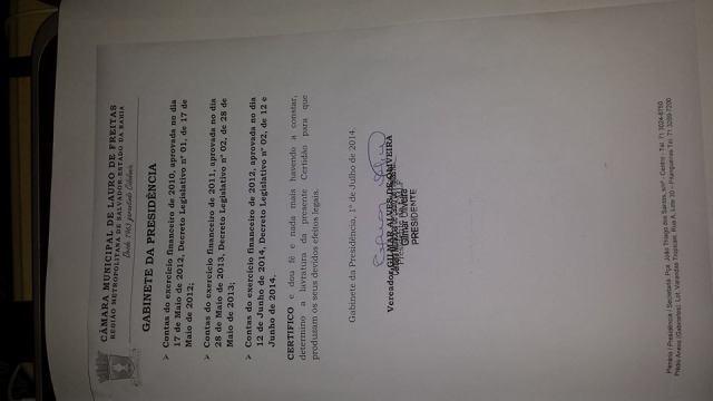 Câmara de Vereadores aprovou todas as contas de Moema